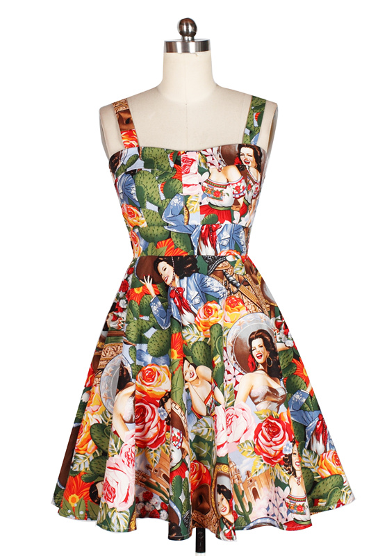 vintage 50s hepburn retro strap sleeveless ball gown mini frame print summer sun dresses cotton casual