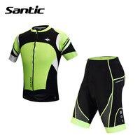Santic verão de ciclismo jersey + curta 4d acolchoado set bicicleta mens ciclismo jersey shorts curtos ciclismo roupas m5ct049v