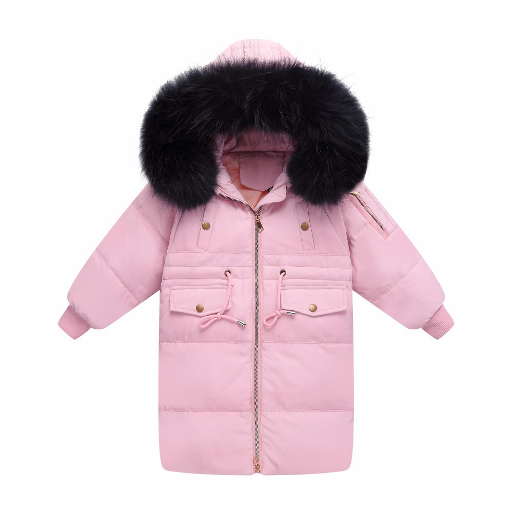 XYF1802 Girl Winter 100 White Duck Down Coat Child Big Fur Collar Keep Warm Thick Hooded Jacket Long Outerwear Boys Windbreaker