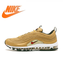 Original Authentic NIKE AIR MAX 97 Metallic Gold Breathable Men's Running Shoes Sports