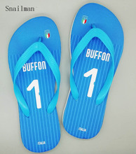 Italy National Team Slipper And Any Jersey Name Number Flip Flops Soccer  Fans Swimming Slipper Beach a608f74c469c