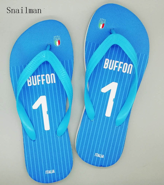 3f6404a09832 Italy National Team Slipper And Any Jersey Name Number Flip Flops Soccer  Fans Swimming Slipper Beach Shoes Gift