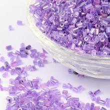 11/0 rocalla de Vidrio, 2cut, Trans. El Interior de Colores Del Arco Iris Redondo, púrpura, tamaño: alrededor de 2.2mm de diámetro, unos 37500 unids/pound