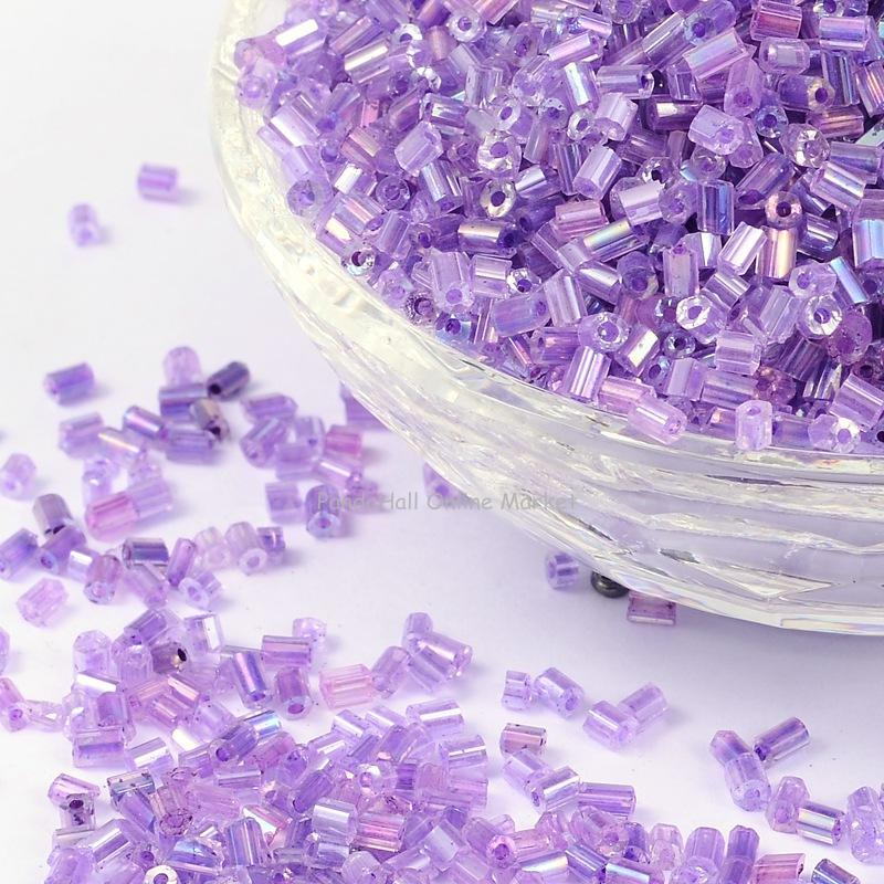 11/0 Glass seed beads, 2cut, Trans.Inside Colours Rainbow Round, Purple, Size: about 2.2mm in diameter, about 37500pcs/Pound