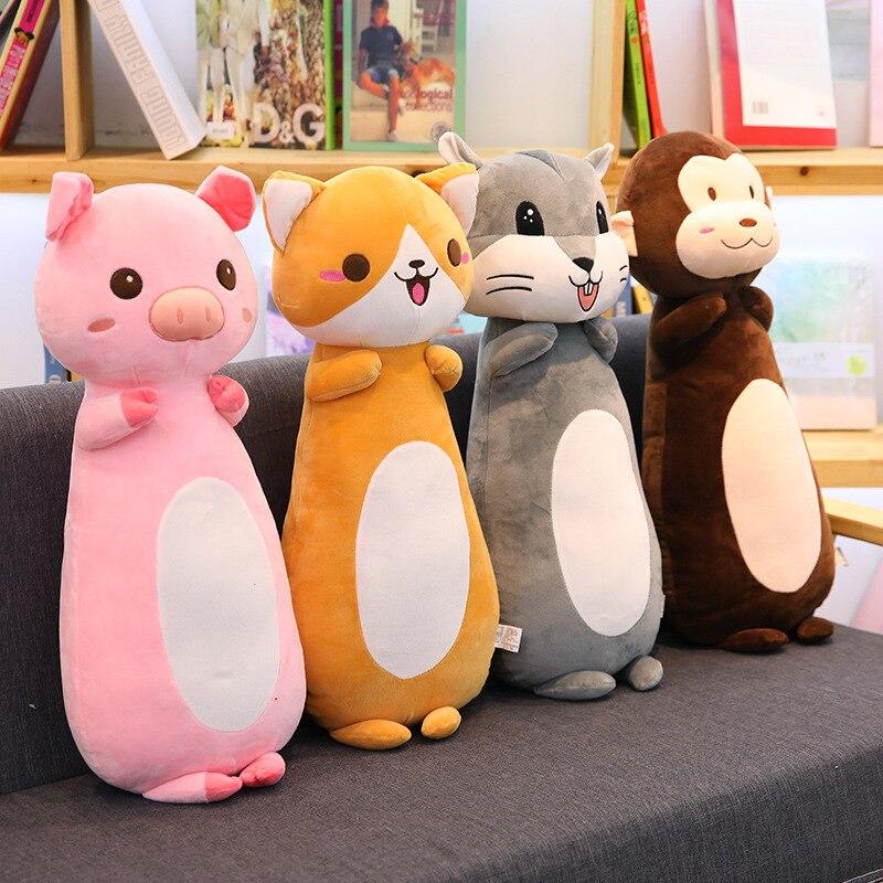 70 Cm doux chat chien cochon en peluche jouet en peluche Animal dormant coton oreiller coussin en peluche jouets pour enfants