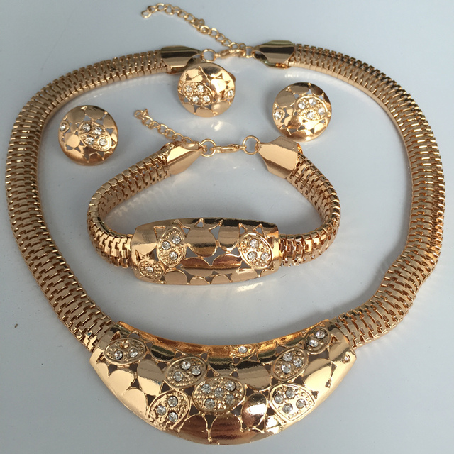 Italy Fashion Costume Jewellery African Women Necklace Bracelet Rings Earrings Set Dubai Gold Colour Jewelry