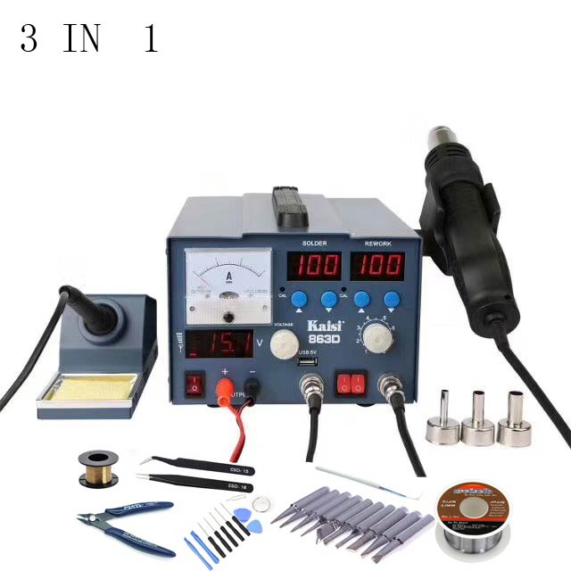 Newest 3 IN 1kaisi 863D BGA rework station solder iron station with LED hot air gun DC power supply 15V 3A Mobile phone repair f 204 mobile phone laptop bga rework reballing station hot air gun clamp jig nt f204 fixtures