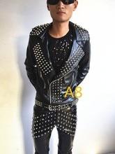 Punk style Rivet Leather Jacket Personality Outwear Male Singer Top Wear Nightclub singer dancer dj Performance coat costume