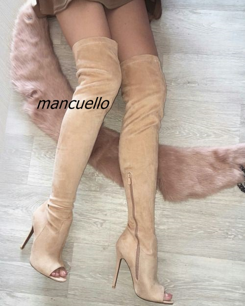 все цены на New Arrival Beige Suede Stiletto Heel Over The Keen High Boots Chic Women Slim Fit Open Toe Shoes Classy Half Zip Long Boots