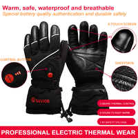 SAVIOR heated glove skiing motorbike cycling golf outdoor sports finger heat 40 65C smart 3 levels control SHGS15B waterproof