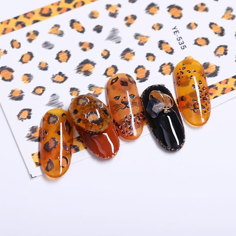 Diy Snow Leopard Nail Art: 3D Nail Sticker Transfer Adhesive Stickers Flower Leopard