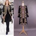 Top Quality 2015 outono inverno desfile de moda casaco bordado Floral das mulheres de lã casacos casacos casacos XL XXL meu
