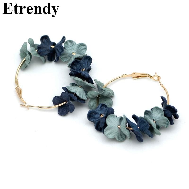 Big Flower Hoop Earrings For Women Fashion Jewelry 2018 Geometric Cloth Bohemian Earrings Bijoux Gifts Pink Green