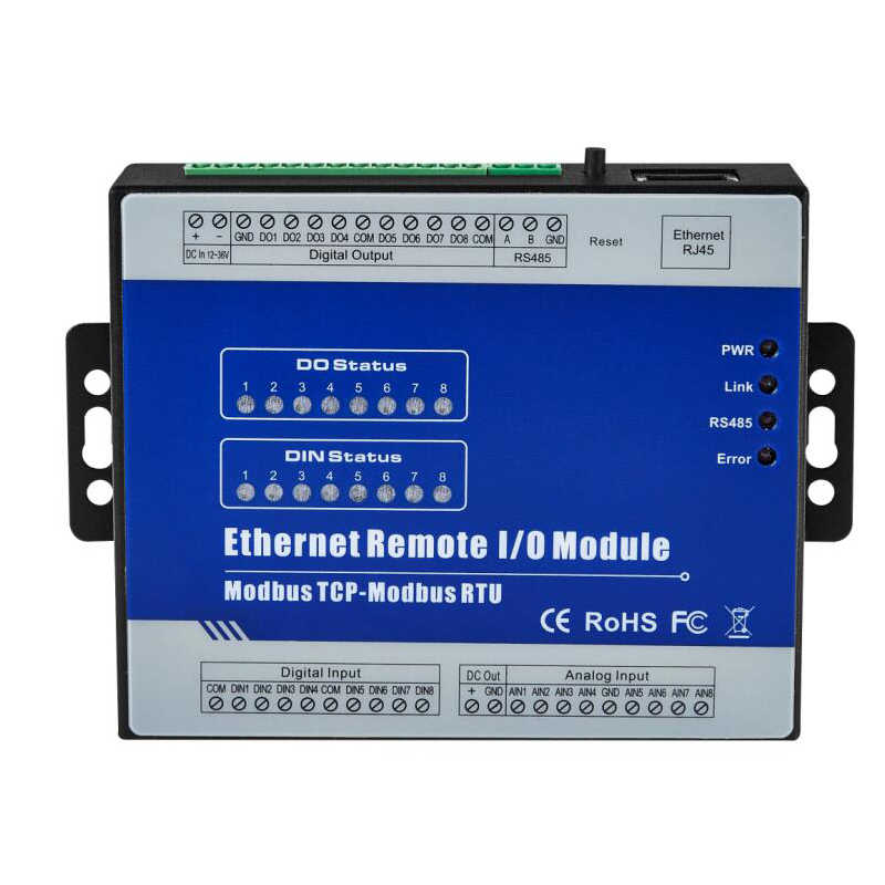 8 Isolated Analog Inputs Module Supports 0~20mA 4~20mA 0-5VDC 0-10VDC Modbus TCP Ethernet Remote IO Module M330T