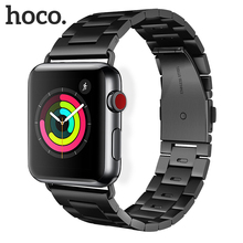 Original HOCO Stainless Steel Band for Apple Watch Band Series 4 3 2 1 Metal Replacement Strap for iWatch 40mm 44mm 38mm 42mm strap for apple watch band 42mm 38mm 40mm 44mm pearl replacement band with secure metal clasp buckle for iwatch 4 3 2 1 sport