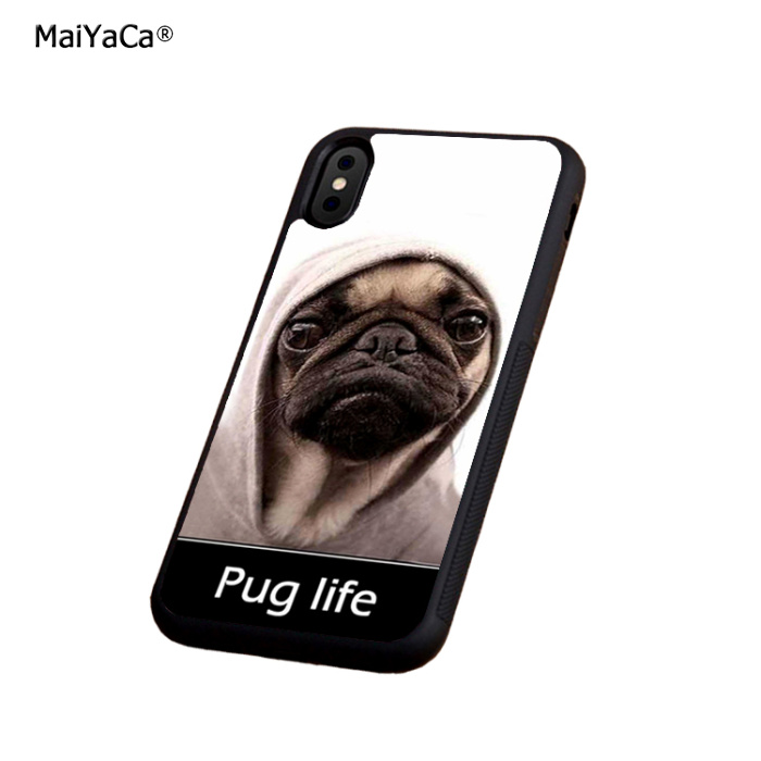 Pug life parody fans funny soft silicone edge cell phone cases for apple iPhone x 5s SE 6 6s plus 7 7plus 8 8plus XR XS MAX case in Half wrapped Cases from Cellphones Telecommunications