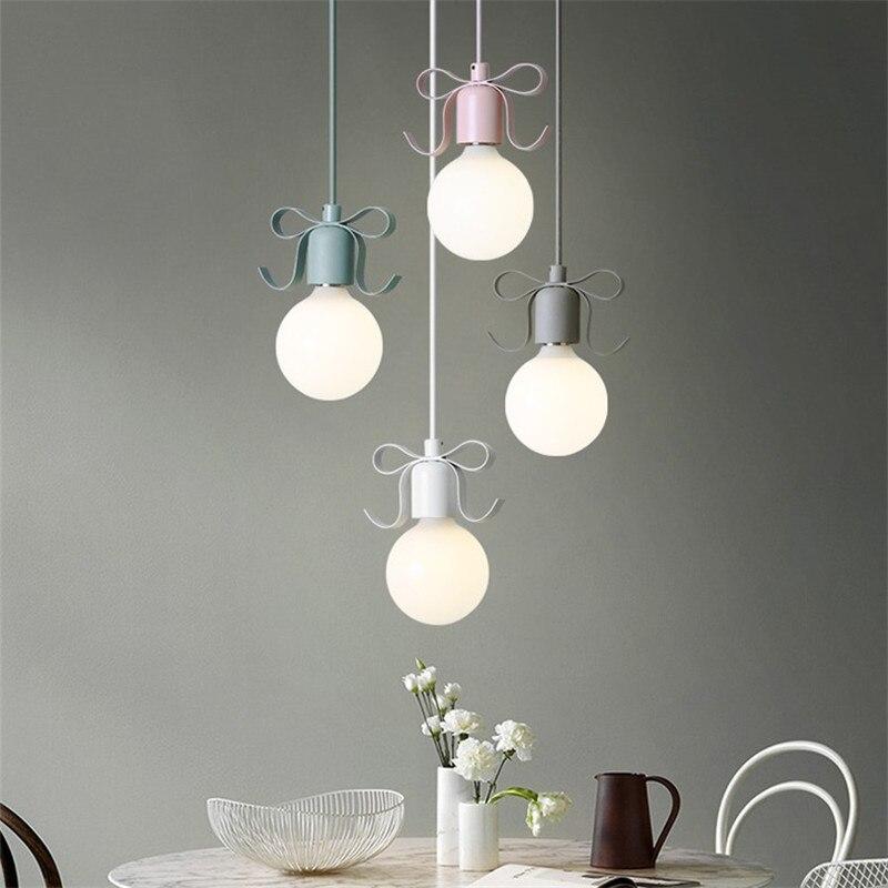 Simple Modern LED Pendant Light Iron Creative Bows HangLamp Nordic Lamp Fixtures Dining Room Lights Deco Home Pendant Lighting