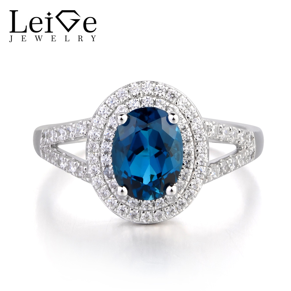 Leige Jewelry Oval Cut Promise Ring London Blue Topaz Gemstone Genuine 925 Sterling Silver November Birthstone Gifts for WomenLeige Jewelry Oval Cut Promise Ring London Blue Topaz Gemstone Genuine 925 Sterling Silver November Birthstone Gifts for Women