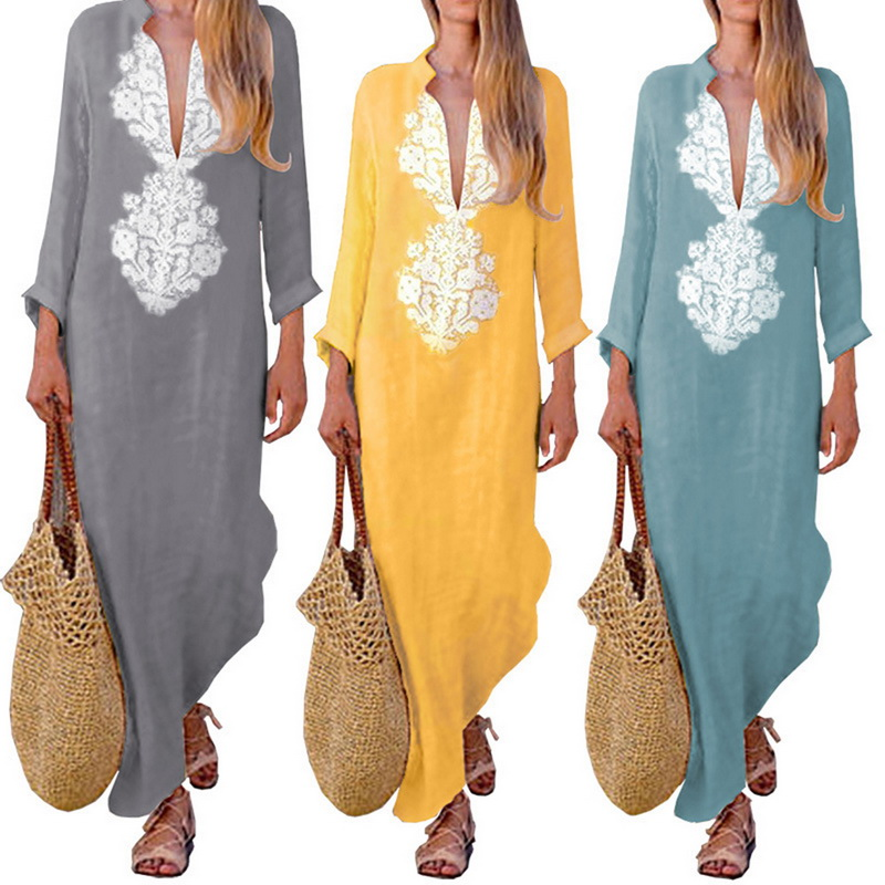 LASPERAL Summer Boho Long Maxi Dress Long Sleeve   Women Dress Clothes Loose Ladies Party Summer Casual Beach Sundress