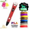 Dikale 3D печатная ручка 3D Ручка для рисования красная новая версия Три D принтер карандаш бонусные трафареты электронная книга для детей для вз...