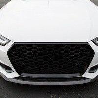 Для RS4 Стиль спереди Спорт Шестигранная сетка соты решетка капота черный глянец для Audi A4/S4 B9 2017 2018 Чехлы для автомобиля аксессуары
