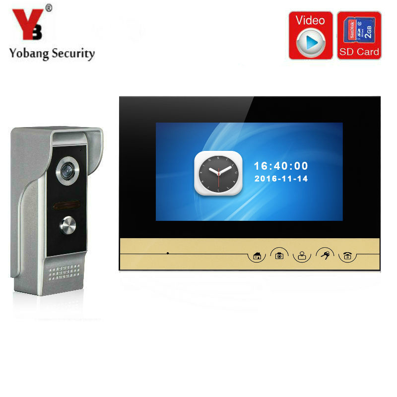 YobangSecurity Video Door Intercom 7 Inch Wire Video Door Phone Doorbell Intercom With Video Recording And Photo Taking Function