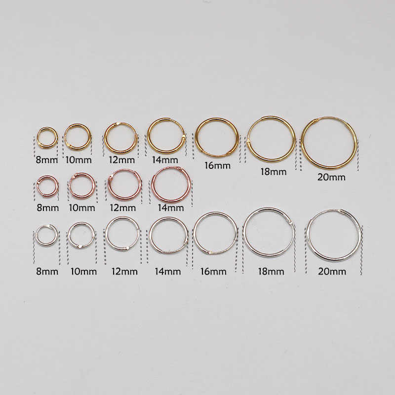 Golden/Gold color/Rose Gold color/Black/925 Sterling Silver Simple Ear Bone Hoop Earrings Mini Small Round Circle Earrings Hoops