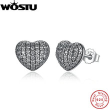 2019 New Real 925 Sterling Silver In My Heart Pave Stud Earrings