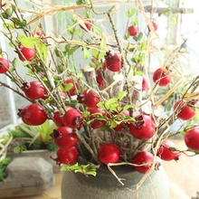 10 Pcs Simulation Artificial Pomegranate Branch for Decoration Foam Bouquet Fake Bush