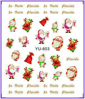 1X Water Stickers Nail Decals Stickers Water Transfers Decal Xmas Chrismas Santa Clause YU603-608 image