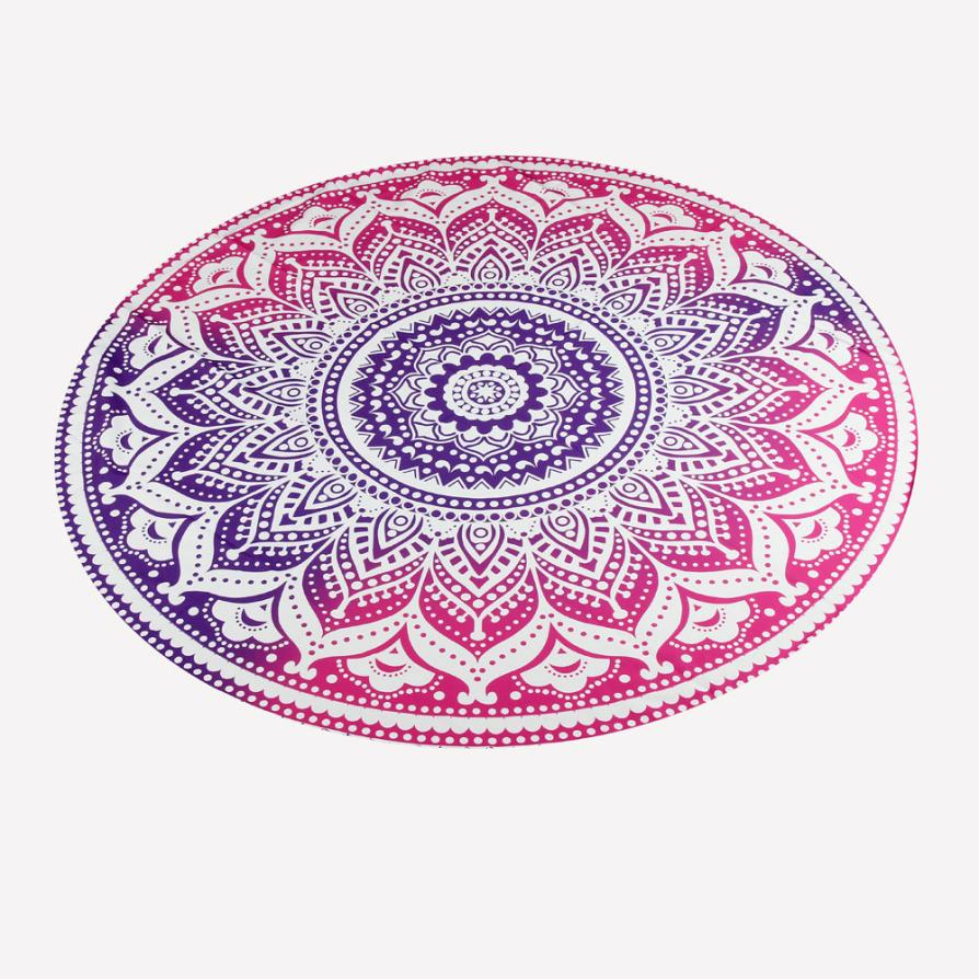 1PC Round Beach Pool Home Shower Towel Blanket Table Cloth Yoga Mat Polyester Diameter 150cm Janu 18