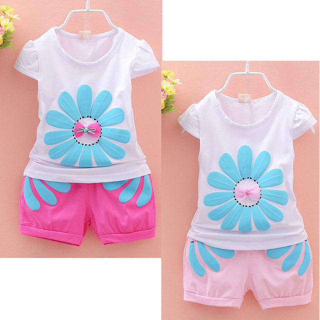 fb150af31a430 US $4.91 12% OFF Cute Baby Girl Clothes Summer 2pcs set cotton T shirt and  shorts baby girl clothing Kids Outfits-in Clothing Sets from Mother & Kids  ...