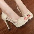 Moda estilo verão sandálias plataforma saltos Finos Mulheres sexy sapatos de Casamento do dedo do pé aberto 11 mulheres high heel bombas frete grátis