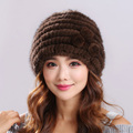 Real Mink Fur Hat Cap With Flower Decoration Hats For Women Brand Warm Female Cap Winter Knitted Mink Fur Beanies Caps