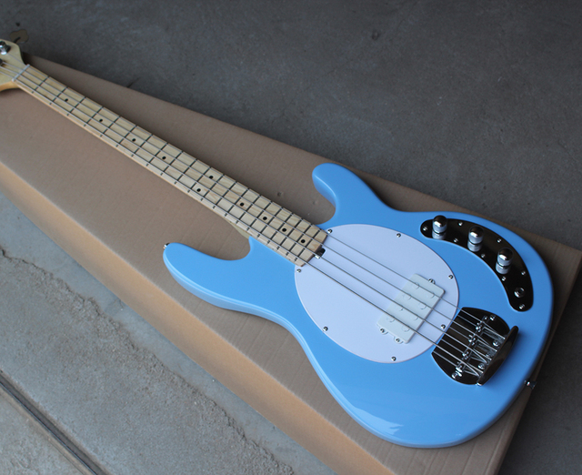 US $89 1 10% OFF|Factory 4 string Sky Blue Electric Bass Guitar with White  Pickguard,Maple Fretboard,1 Pickup,Chrome Hardwares,Offer Customized-in