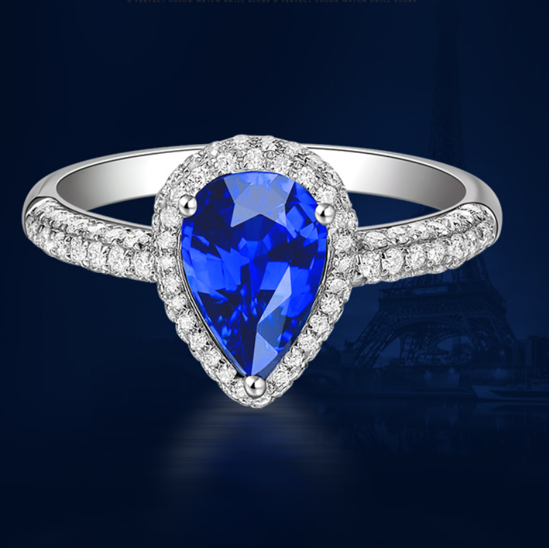 0.5 carat 925 sterling silver sapphire diamant ring water drops tanzanite  wedding engagement jewelry US size from 4.5 to 9 (LA)0.5 carat 925 sterling silver sapphire diamant ring water drops tanzanite  wedding engagement jewelry US size from 4.5 to 9 (LA)