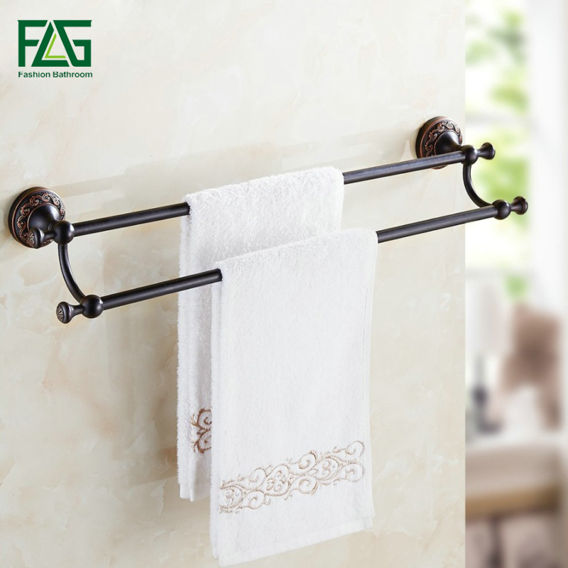 FLG Wall Mounted Bathroom Accessories Oil Rubbed Bronze Black Double Towel Bar Towel Holder Bathroom Hardware