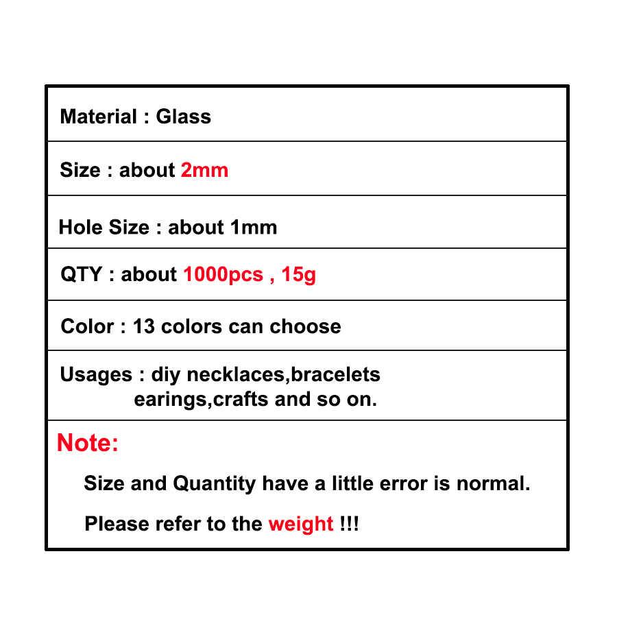 Approx.1000pcs 2 ミリメートル Matellic シードビーズチェコガラスビーズチャーム Kralen ジュエリーメイキングのためにルーススペーサービーズ DIY クラフト卸売