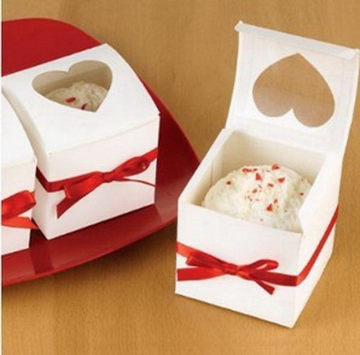 Singling cupcake boxes 6 * 6 * 6cm cajas de pastel de papel blanco y - Para fiestas y celebraciones - foto 3