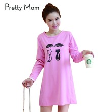 Spring Autumn Funny Cat Print Pregnancy Clothing for Pregnant Women Long Sleeve Maternity T Shirt Dresses Pregnant Clothes
