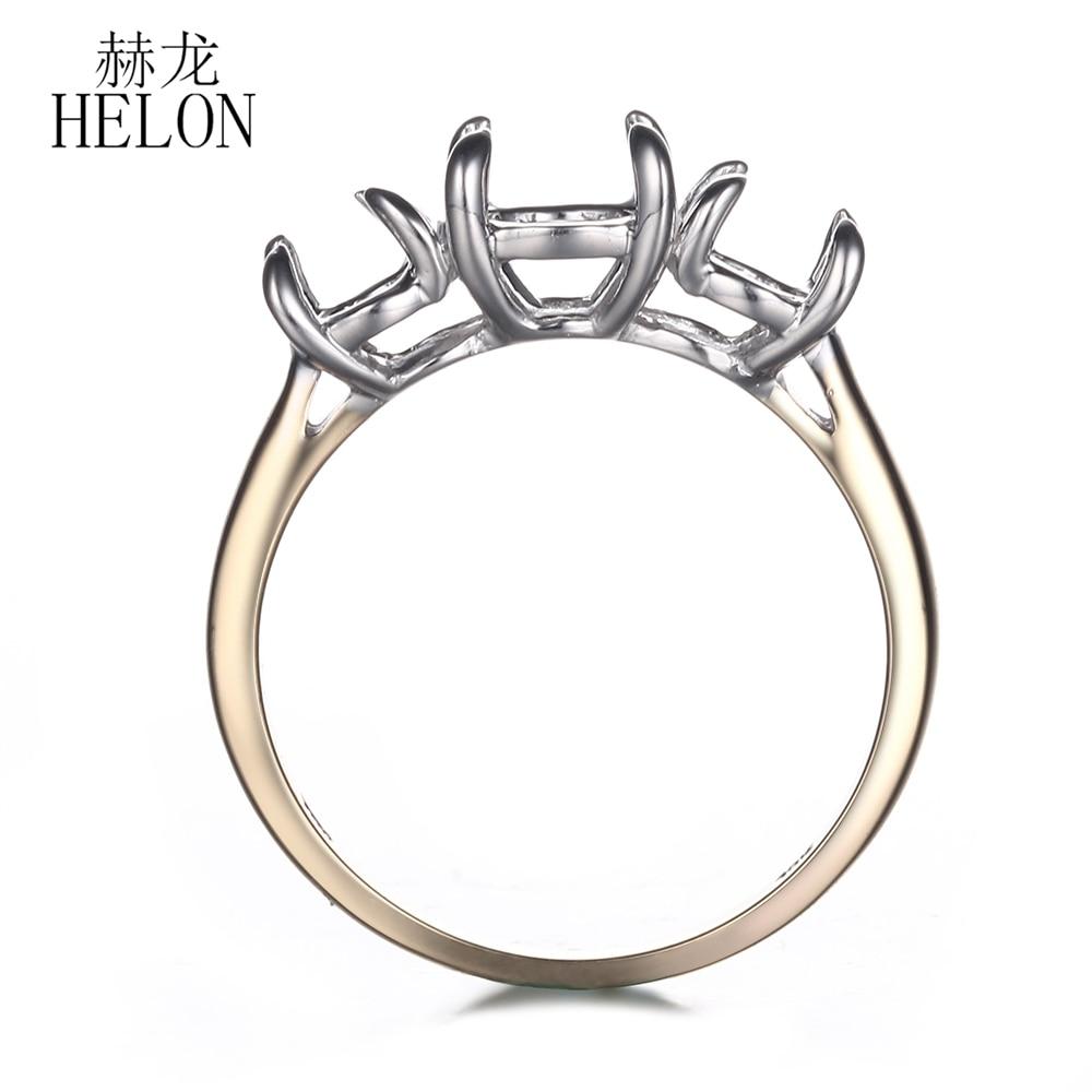 HELON Solid 10K White Gold & Yellow Gold Three Stone style Ladies Jewelry Engagement Wedding Semi Mount Ring Round Shape 6mm