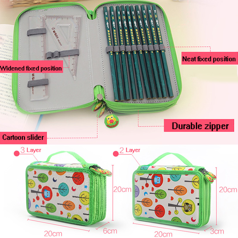 Cartoon Boys Girls Brush Art Secret Garden Stress Reliever Color Lead Sketch 72 Holes School Pencil Case Stationery Box 72 holes canvas pencil case folded brush holder pouch case with zipper storage pockets bag gifts school stationery art supplies