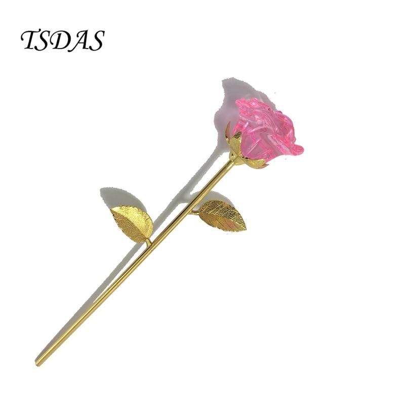 Růžový křišťálově růžový květ zachován v 24 K zlatý Valentýn dárkové výročí zlatý ponořený Rose Pack s dárkové krabičce