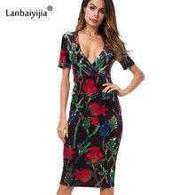 Lanbaiyijia Print Flowers Short Sleeve V-neck Women Dress high quality  Velvet dress Knee-length Slim Casual dresses Size S M L 84eac2214b3b