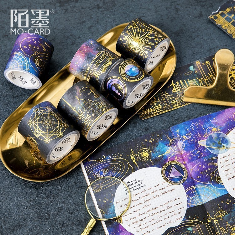 1 PCS New 5m Last Night The Stars Bronzing Series Washi Decorative Adhesive DIY Masking Paper Tape Sticker Office Supplies