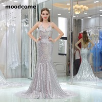 2018 Cheap Backless Prom Dresses Halter Sequins Mermaid Sweep Train Custom Made Plus Size Formal Evering Gowns