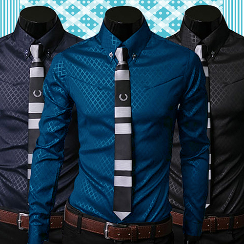2019 New Arrival Fashion Men Argyle Luxury Business Style Slim Fit Long Sleeve Casual Dress Shirt