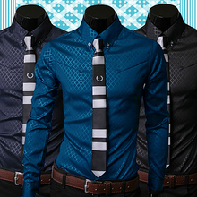 2019 New Arrival Fashion Men Argyle Luxury Business Style Slim Fit Long Sleeve Casual Dres
