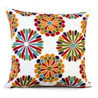 Homing Geometric Big Flower Cotton Cushion Cover 3D Embroidery Throw Pillow Case Car Couch Decorative Pillow