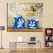 Modular Pictures For Living Room Home Decor Blue Cute Cat DIY Oil Painting By Numbers Hand Painted Modern Framework Wall Canvas